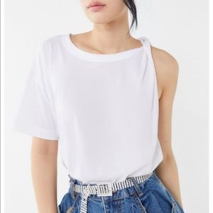 Truly Madly Deeply asymmetrical white tee S